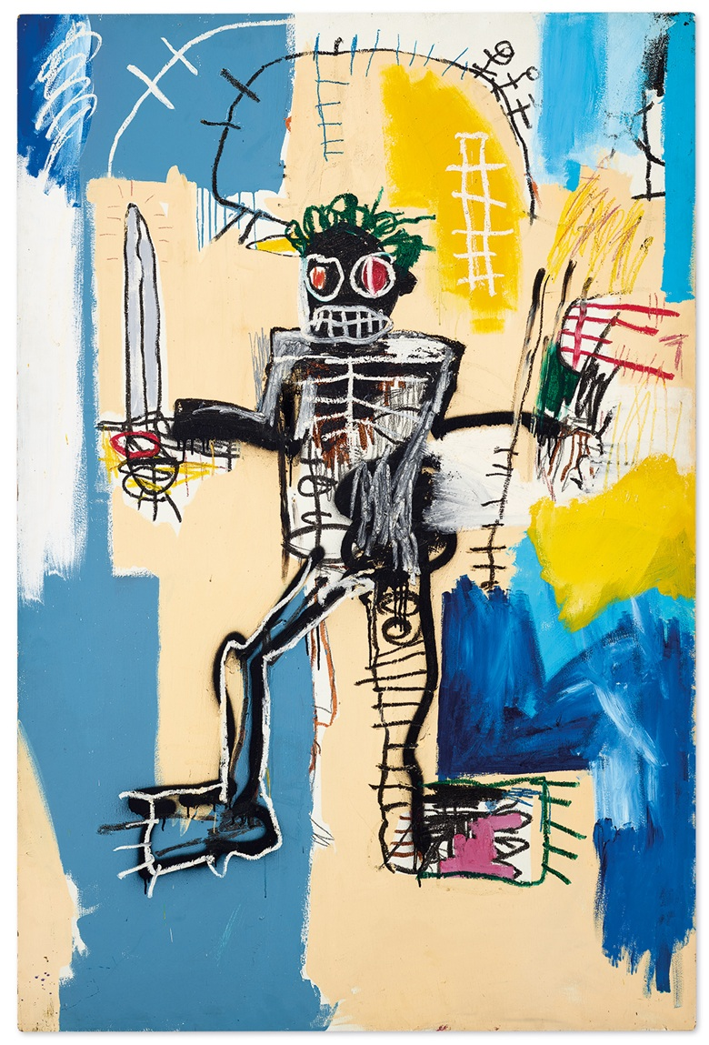 Jean-Michel Basquiat (1960–1988), Warrior. Signed and dated 'Jean-Michel Basquiat 1982' (on the reverse). Acrylic, oilstick and spray paint on wood panel, 72 x 48 in. (183 x 122 cm.). Painted in 1982. Estimate HK$240,000,000-320,000,000  US$31,000,000-41,000,000. Offered in We Are All Warriors The Basquiat Auction on 23 March 2021 at Christies in Hong Kong