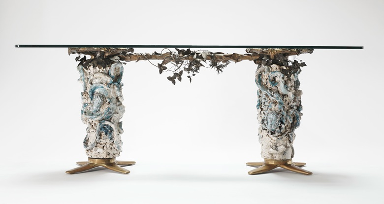 Fausto Melotti (1901-1986), Table, c. 1950. Glazed ceramic, brass and crystal. 76.5 x 154 x 45 cm (base). Sold for €93,750 on 6 May, Online