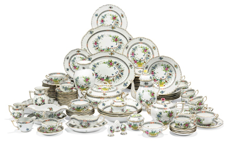 A Herend porcelain Indian basket pattern part dinner-service, 20th century. Estimate £5,000-8,000. Offered in The Collector Online, 29 April-20 May 2021