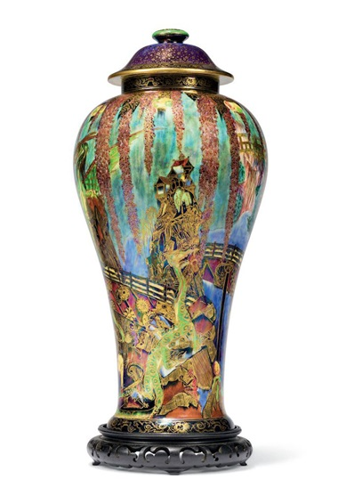 A large Wedgwood fairyland lustre Temple on a Rock vase and cover, circa 1925. 20¼  in (51.5  cm) high overall. Estimate £15,000-20,000. Offered in The Collector Live on 19 May 2021 at Christie's in London