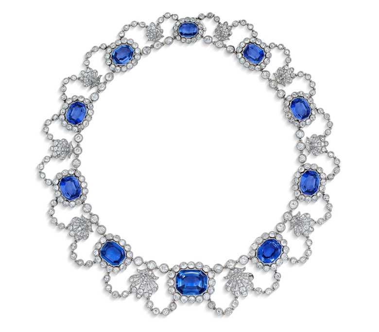 An early 19th-century sapphire and diamond necklace, c. 1800. Octagonal step-cut sapphires, rose and old-cut diamond, gold, 40.5 cm, black fitted case. Estimate CHF 180,000-320,000. Offered in Magnificent Jewels on 12 May 2021 at Christie's in Geneva
