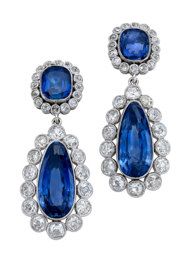 A pair of early 19th-century sapphire and diamond earrings, c. 1800. Pear and cushion-shaped sapphires, old-cut diamonds, gold, 4.4 cm. Estimate CHF 30,000-45,000. Offered in Magnificent Jewels on 12 May 2021 at Christie's in Geneva