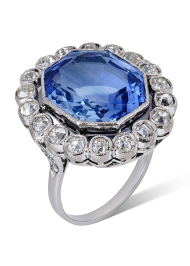 An early 19th-century sapphire and diamond ring. Octagonal step-cut sapphire, single and old-cut diamonds, gold, c. 1800, ring size 6½. Estimate CHF 10,000-18,000. Offered in Magnificent Jewels on 12 May 2021 at Christie's in Geneva
