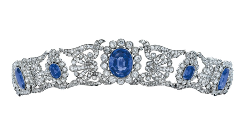 An early 19th-century important sapphire and diamond tiara, c. 1800. Octagonal step-cut and oval-shaped sapphires, rose and old-cut diamonds, gold, 49.0 cm, black fitted case. Estimate CHF 140,000-250,000. Offered in Magnificent Jewels on 12 May 2021 at Christie's in Geneva
