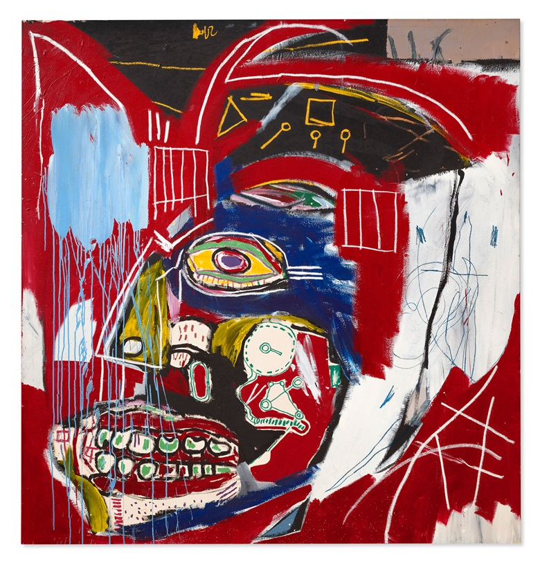 Jean-Michel Basquiat (1960-1988), In This Case, 1983. Acrylic and oilstick on canvas. 77⅞ x 73¾ in (197.8 x 187.3 cm). Property from a distinguished collection. Estimate on request. Offered in the 21st Century Evening Sale on 11 May at Christie's New York