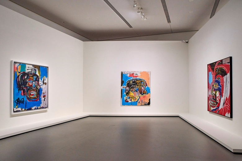 Installation view, JEAN-MICHEL BASQUIAT, 3 October 2018 – 21 January 2019, Fondation Louis Vuitton, Paris (present lot illustrated). Photo  Manuel lagos CidParis Match via Getty Images. Artwork © Estate of Jean-Michel Basquiat. Licensed by Artestar, New York