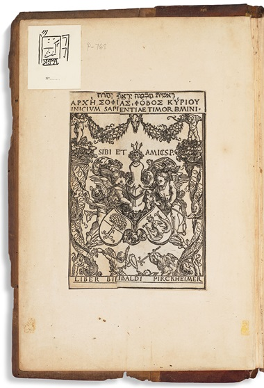 The Rosenberg copy of Vitae pontificum, from the library of Willibald Pirckheimer, features his bookplate by Albrecht Dürer