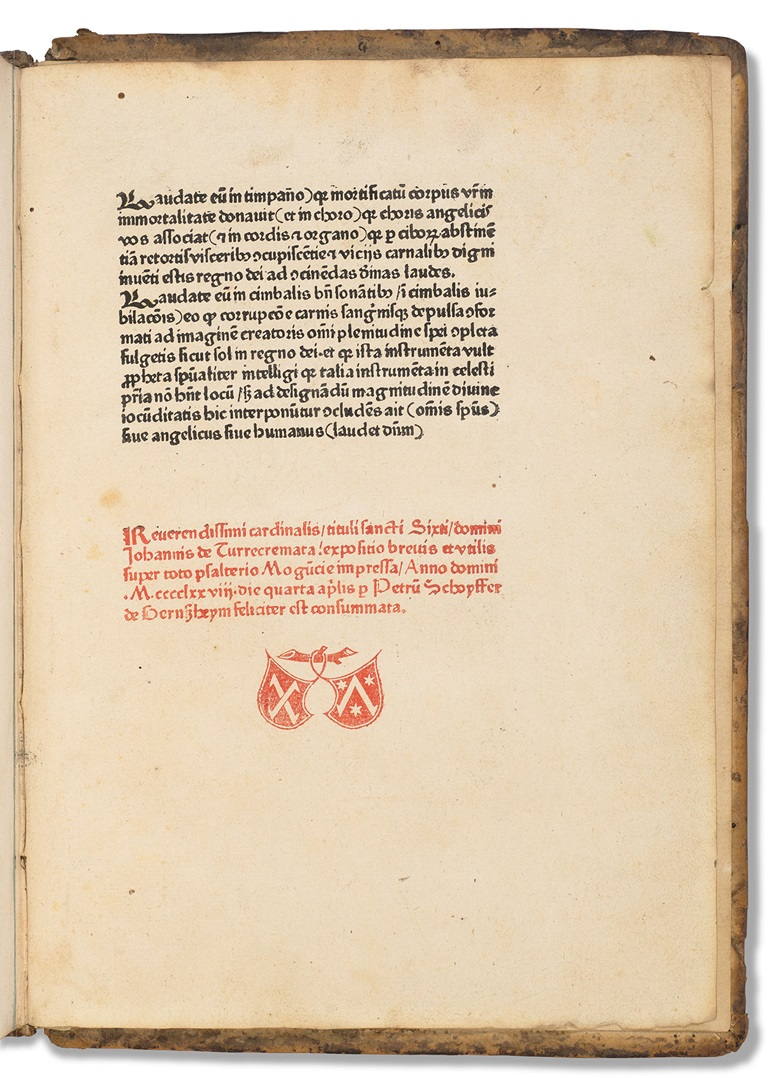 Expositio super toto psalterio. Mainz Peter Schoeffer, 1478. Sold for $15,000 on 23 April 2021 at Christie's in New York
