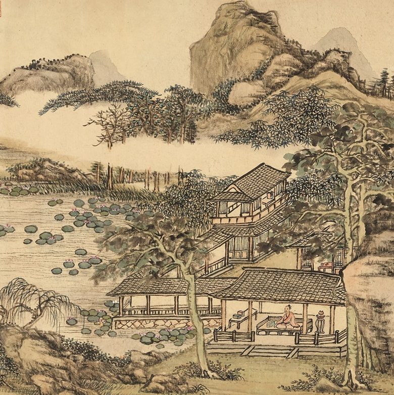 Zhang Zongcang (1686-1756), Wutong Studio in Autumn (detail), with the Emperor in a red robe, seated before the Chinese parasol tree. Handscroll, ink and colour on paper. 32.5 x 150 cm (12¾ x 59½ in). Estimate HK$55,000,000-75,000,000. Offered in Fine Chinese Classical Paintings and Calligraphy on 26 May at Christie's in Hong Kong