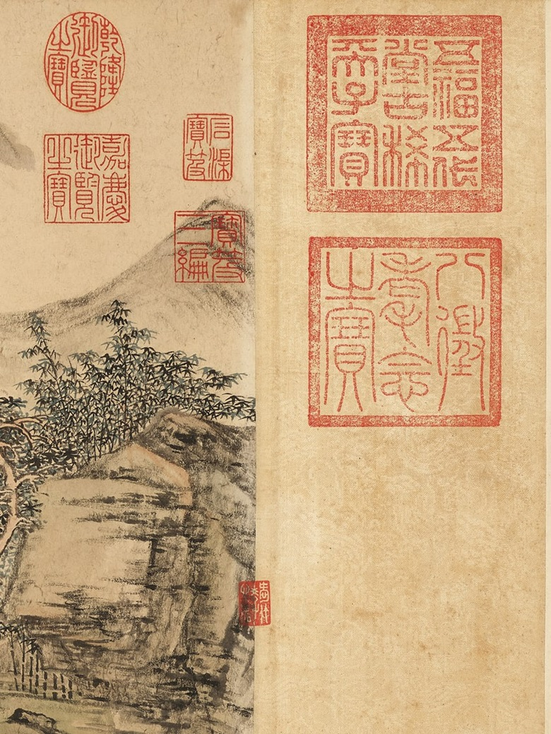 Zhang Zongcang (1686-1756), Wutong Studio in Autumn (detail), showing seals from the Qianlong Emperor that correspond to different chronological periods in his life. Handscroll, ink and colour on paper. 32.5 x 150 cm (12¾ x 59½ in). Estimate HK$55,000,000-75,000,000. Offered in Fine Chinese Classical Paintings and Calligraphy on 26 May at Christie's in Hong Kong
