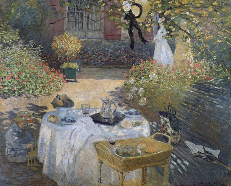 克劳德‧莫奈(1840-1926),《午餐》,1873年作。巴黎奥赛博物馆