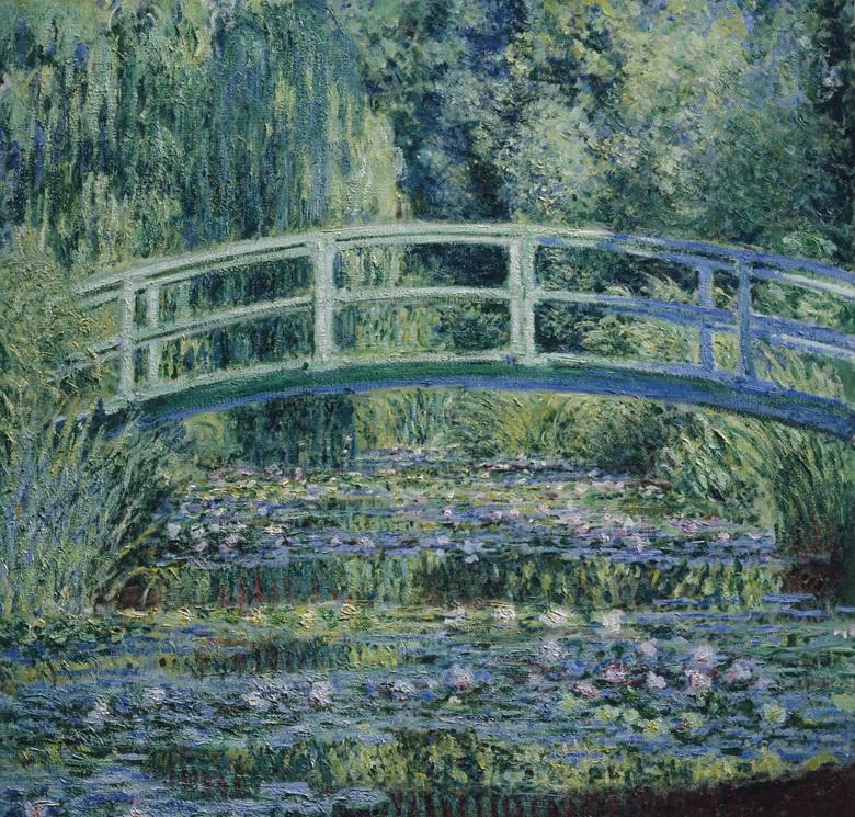 克劳德‧莫奈,《睡莲与日式拱桥》,1899年作。普林斯顿大学艺术博物馆。