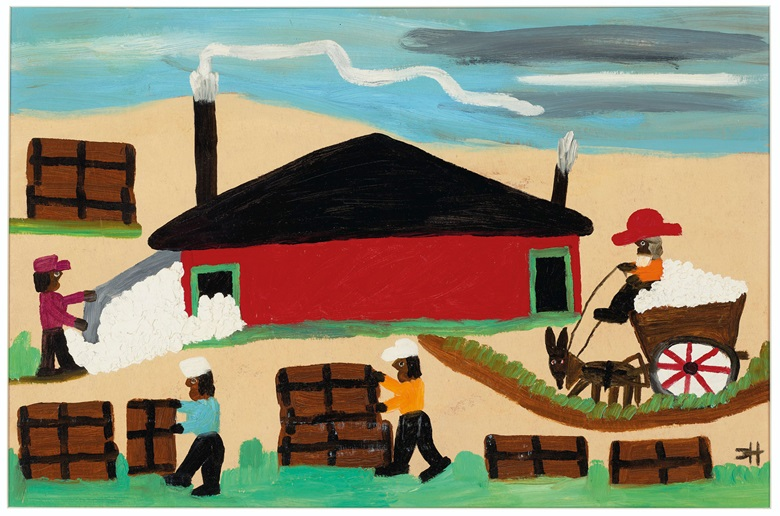 Clementine Hunter (1887-1988), The Cotton Gin, 1965. Oil on paper board. 15½ x 23½ in (39.4 x 59.7 cm). Estimate $4,000-6,000. Offered in Outsider and Vernacular Art on 21 January 2021 at Christie's in New York