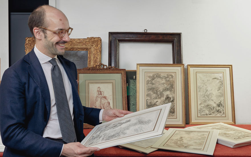 Specialist Stijn Alsteens with a group of drawings by Jean-Honoré Fragonard (1732-1806), offered in Old Master and British Drawings, 14-26 January 2021, Online