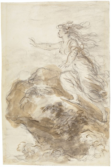 Jean-Honoré Fragonard (1732-1806), Olympia clambers upon a rock, watching Bireno's ship leave (Orlando Furioso, X, 23). Black chalk, brown and grey wash. 15⅞ x 10⅜ in (40.4 x 26.3 cm). Estimate $20,000-30,000. Offered in Old Master and British Drawings, 14-26 January 2021, Online