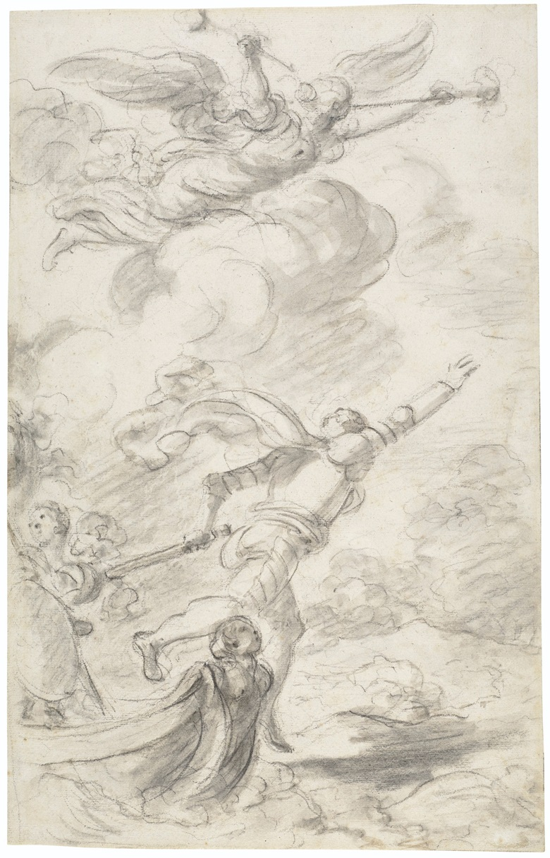 Jean-Honoré Fragonard (1732-1806), Ruggiero leaps ashore (Orlando Furioso, X, 57). Black chalk, brown and grey wash. 15¾ x 9⅞ in (39.2 x 25 cm). Estimate $20,000-30,000. Offered in Old Master and British Drawings, 14-26 January 2021, Online