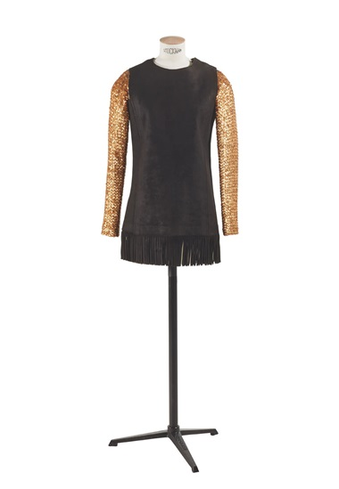 Yves Saint Laurent, embroidered sleeveless tunic in fringed suede and two embroidered long-sleeve tops in silver and gold sequins, from the haute couture springsummer collection of 1968. Sold for €375 in Zizi Jeanmaire — Yves Saint Laurent DE PLUMES ET DE DANSE, 12-26 January 2020, Online