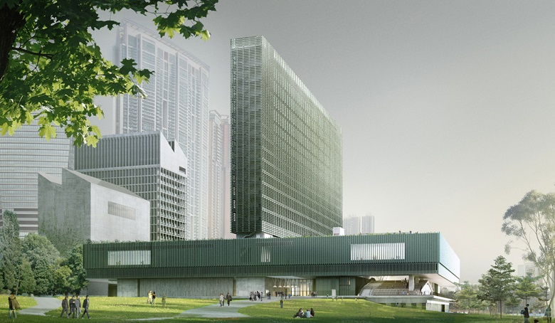 A digital rendering of the M+ building, viewed from the Art Park. Courtesy Herzog & de Meuron and the West Kowloon Cultural District Authority. © Herzog & de Meuron
