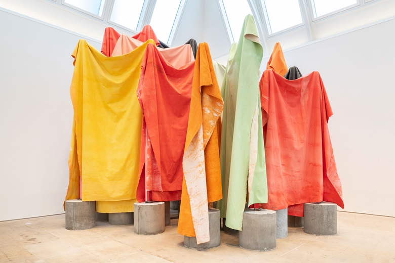 Phyllida Barlow, untitled canvasracks; 2018-2019. Concrete, cotton-duck canvas, hardboard, paint, plastic, plywood, steel, tape, timber. Dimensions variable. Courtesy Cross Steele Collection. Installation view of cul-de-sac, Royal Academy of Arts, London, 2019. Photo Damian Griffiths