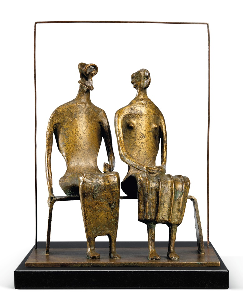 Henry Moore, O.M., C.H. (1898-1986), Maquette for King and Queen, 1952. Bronze with a light brown patina. 10⅝ in (27 cm) high. Estimate £750,000 – 1,000,000. Offered in the Modern British Art Evening Sale on 1 March at Christie's in London