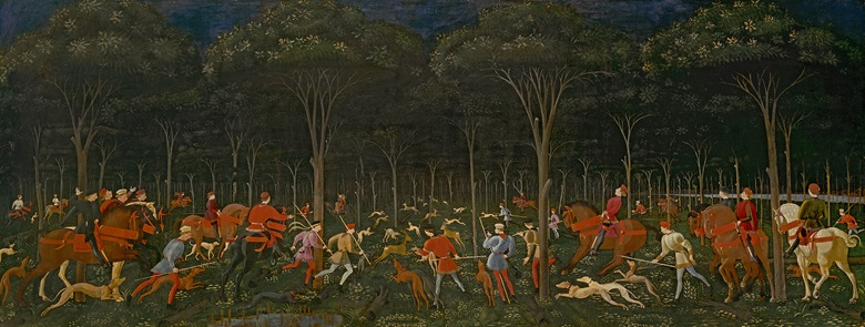 Paolo Uccello, The Hunt in the Forest, circa 1465-70. Oil on panel. Ashmoleon Museum, University of Oxford, UK. Photo Bridgeman Images