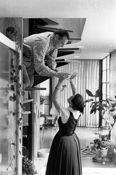 Charles and Ray Eames at home, circa 1970, as seen in the film. © 2011 Eames Office, LLC