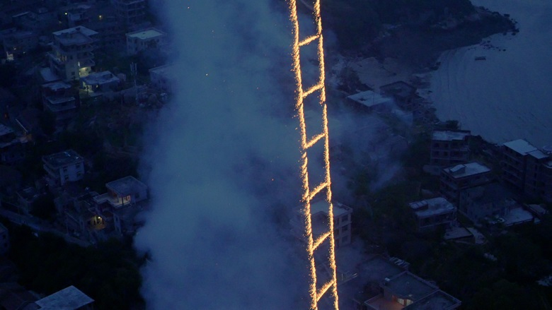 Cai Guo-Qiang's 500-metre-high Sky Ladder, 2015 — a dazzling feat of pyrotechnics. Courtesy of Cal Studio
