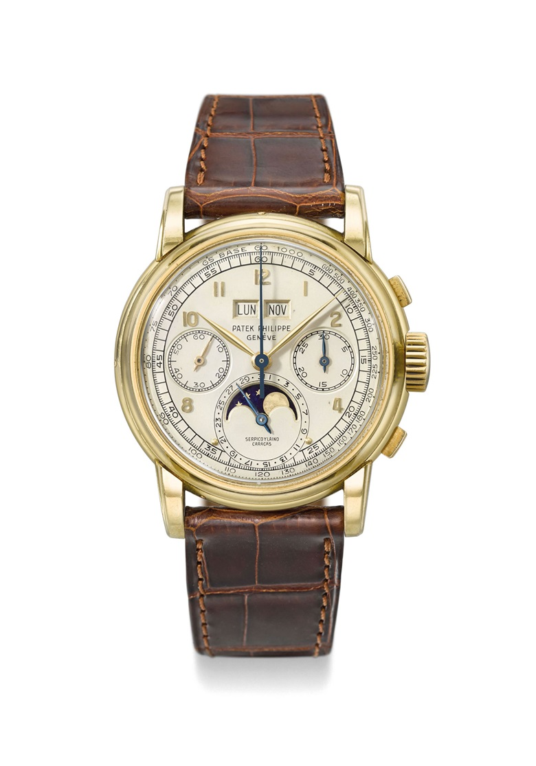 The only known Serpico y Laino retailed reference 2499. Patek Philippe. An exceptional 18K gold perpetual calendar chronograph wristwatch with moon phase.  Signed Patek Philippe, Genève, retailed by Serpico y Laino, Caracas, Ref. 2499, first series, movement no. 868341, case no. 687757, manufactured in 1952. Estimate CHF 1,500,000-2,500,000. Offered in Rare Watches on 12 November at