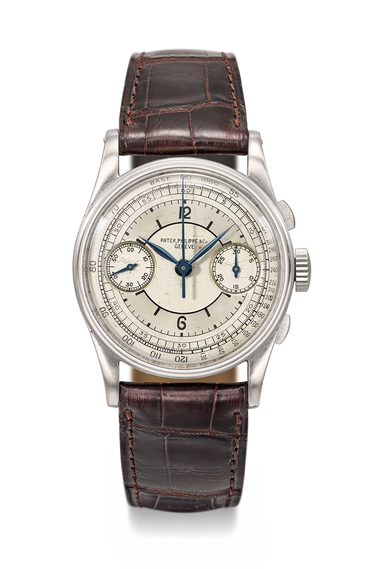 Patek Philippe. An extremely fine, rare and attractive stainless steel chronograph wristwatch with two-tone silvered sector dial. Signed Patek Philippe & Co. Genève, Ref. 130, Movement No. 862'093, Case No. 505'736, Manufactured in 1938, withextract from the archives confirming the production of the present watch with silvered dial, tachometer scale in 1938 and its