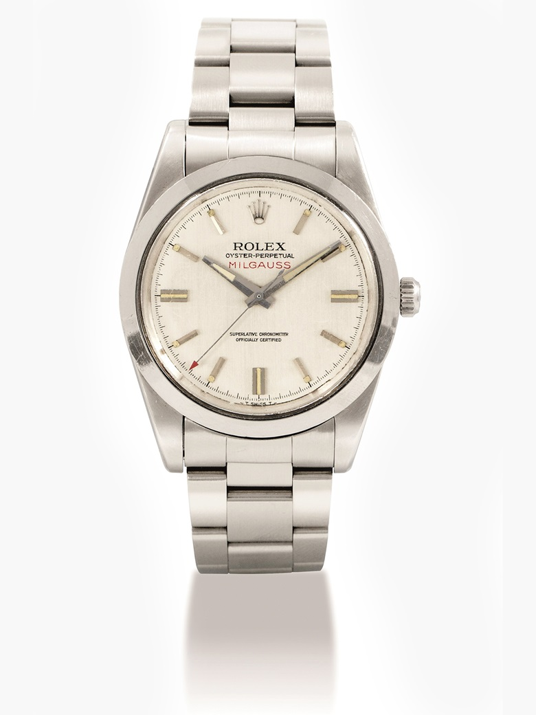 Rolex. A stainless  steel automatic anti-magnetic wristwatch with sweep centre seconds and  bracelet, Milgauss, ref. 1019, circa 1970. Estimate HKD 130,000-280,000  USD 17,000-23,000. This lot is offered  in Important Watches on 29 May 2017 at Christie's in Hong Kong.