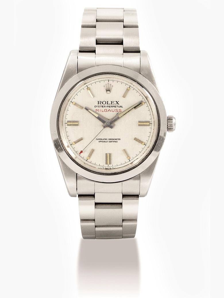 勞力士,不銹鋼自動上弦防磁鏈帶腕錶,配中心秒針,Milgauss,型號1019,約1970年製。估價:130,000-280,000港元  17,000-23,000美元。佳士得香港於2017年5月29日舉行的精緻名錶拍賣中呈獻此拍品。