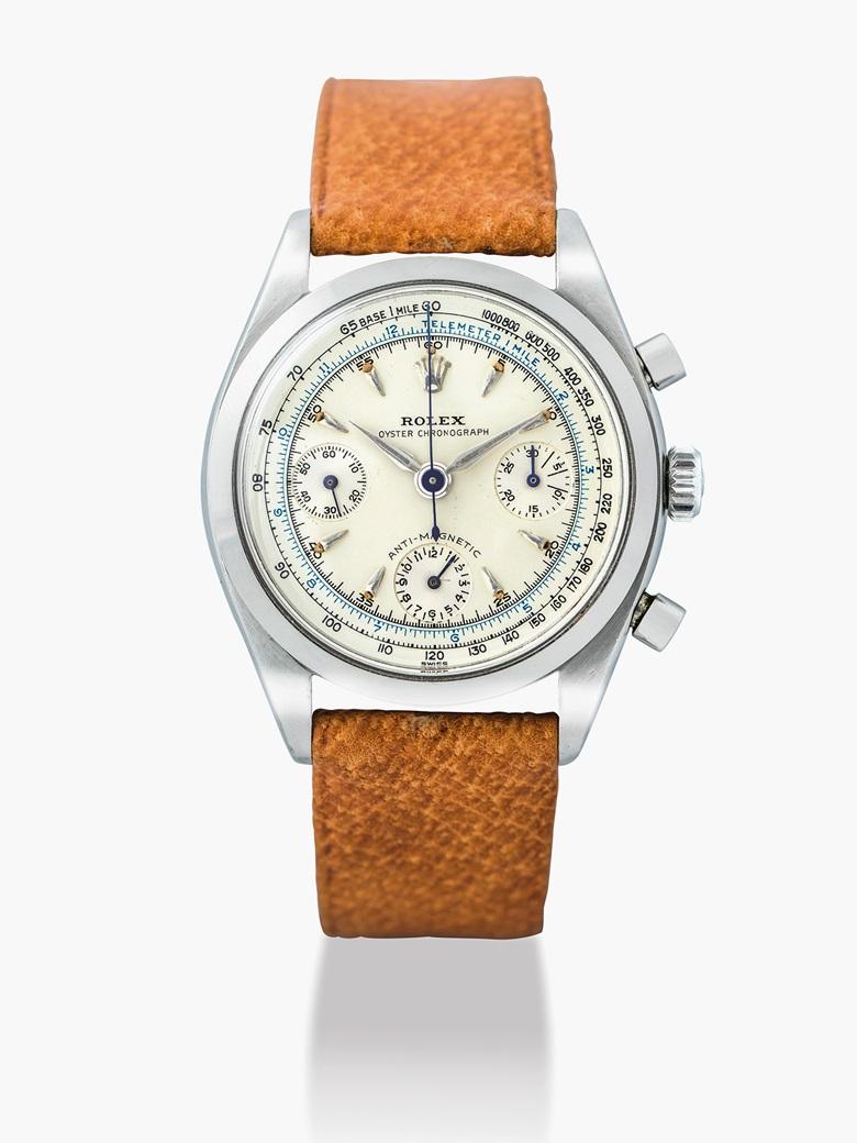 勞力士,不銹鋼腕錶,配計時功能,Anti-Magnetic,型號6234,約1958年製。估價:160,000-250,000港元  21,000-32,000美元。佳士得香港於2017年5月29日舉行的精緻名錶拍賣中呈獻此拍品。