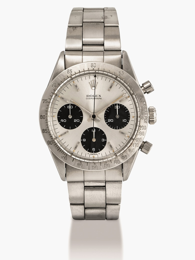 Rolex. A stainless steel chronograph wristwatch with bracelet, Cosmograph, ref. 6239, circa 1965. Estimate HKD 300,000-600,000  USD 39,000-78,000. This lot is offered in Important Watches on 29 May 2017 at Christie's in Hong Kong.