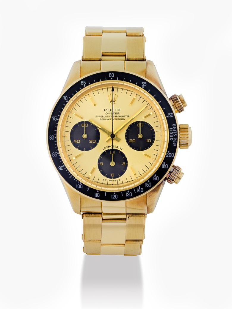 勞力士,18k金鏈帶腕錶,配計時功能,Daytona,型號6265,約1979年製。估價:550,000 - 850,000港元  72,000 - 110,000美元。佳士得香港於2017年5月29日舉行的精緻名錶拍賣中呈獻此拍品。