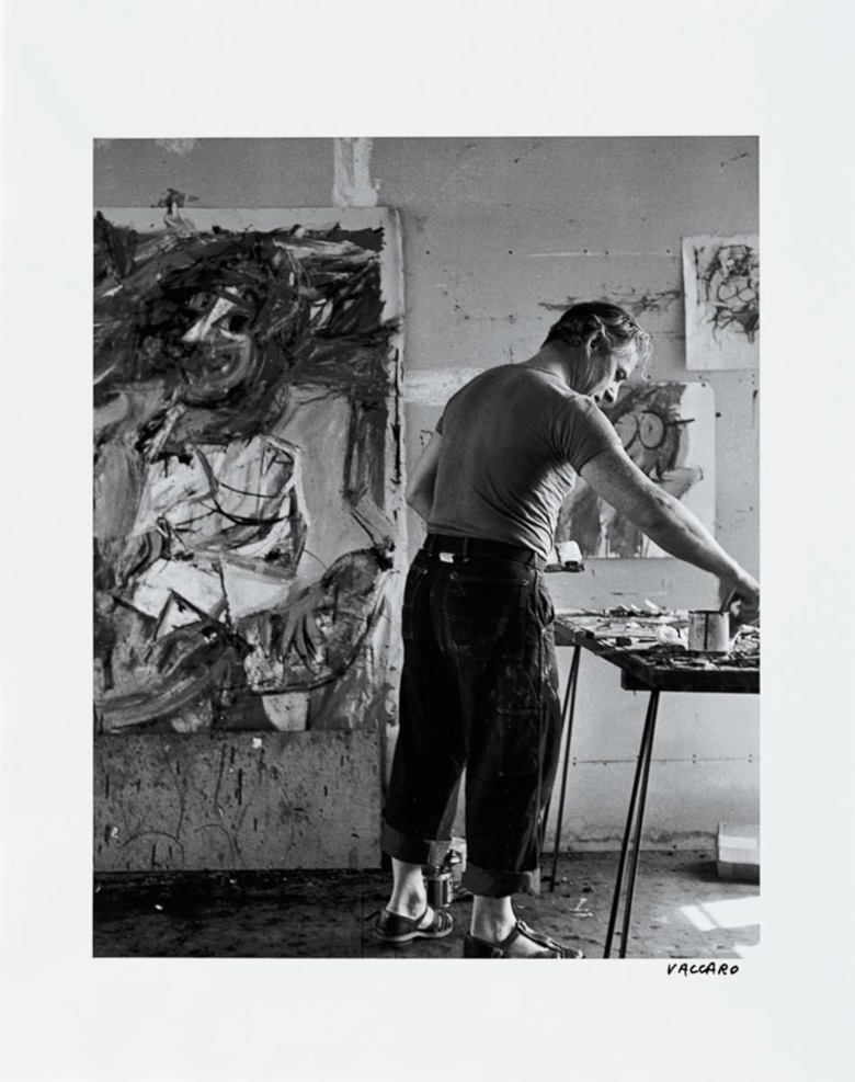 Willem de Kooning in his studio, Easthampton, 1952. Albright-Knox Art Gallery, Buffalo. Photo Albright-Knox Art Gallery  Art Resource, NY. Artwork © 2018 The Willem de Kooning Foundation  Artists Rights Society (ARS), New York.