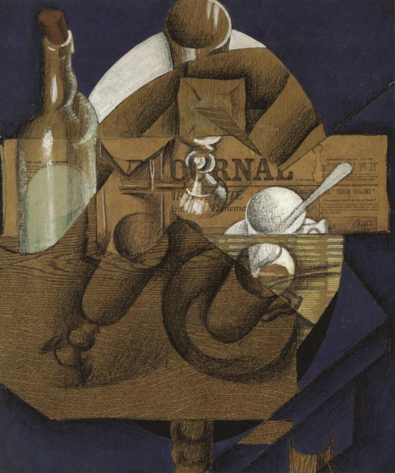 Juan Gris, Tasse, verres et bouteille, Paris, May-June 1914. Sold, Christies London, 30 June 1999, lot 503; The Metropolitan Museum of Art, The Leonard A. Lauder Collection, New York.