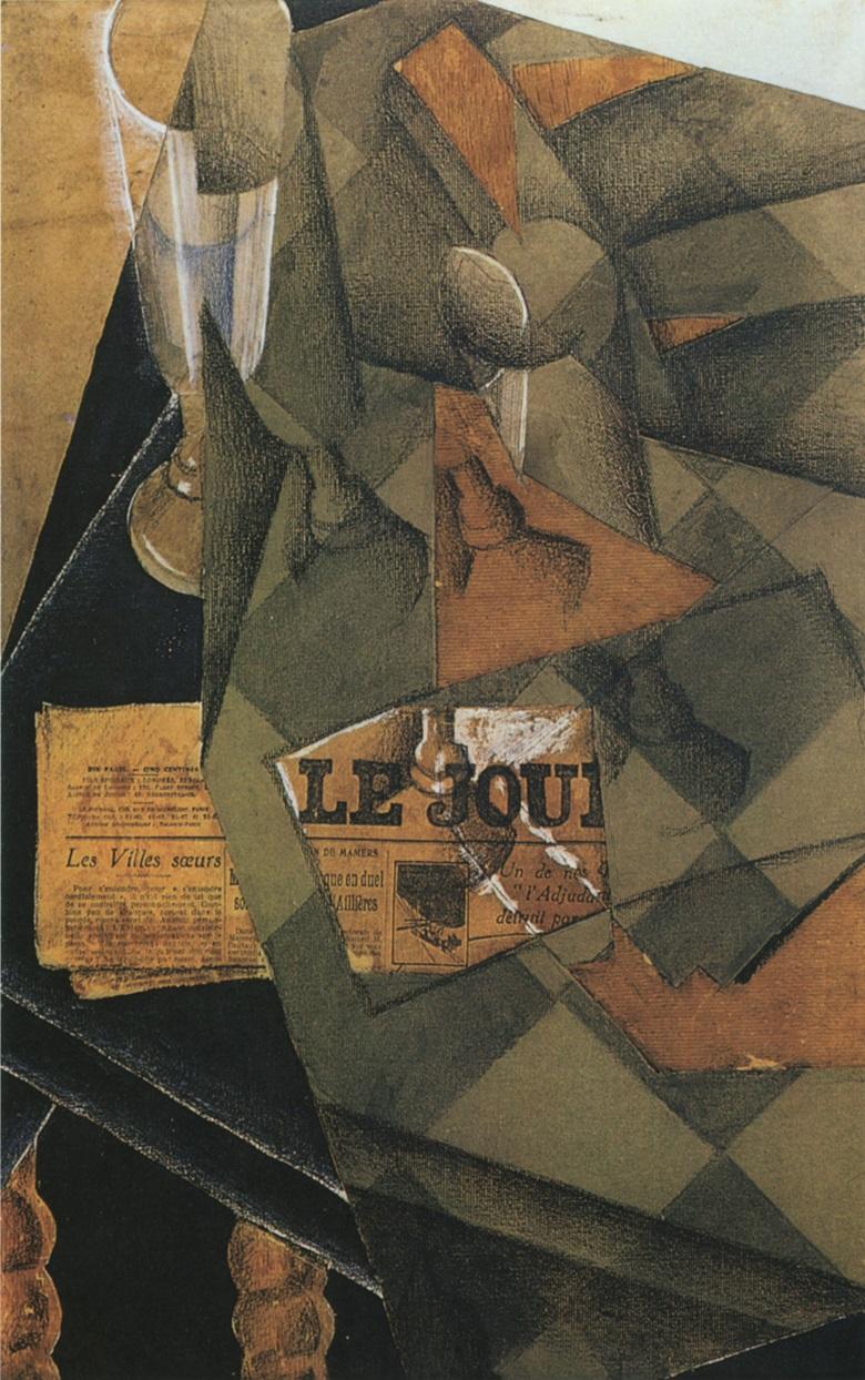 Juan Gris, Verres et journal, Paris, May 1914. Smith College Museum of Art, Northampton, Massachusetts.