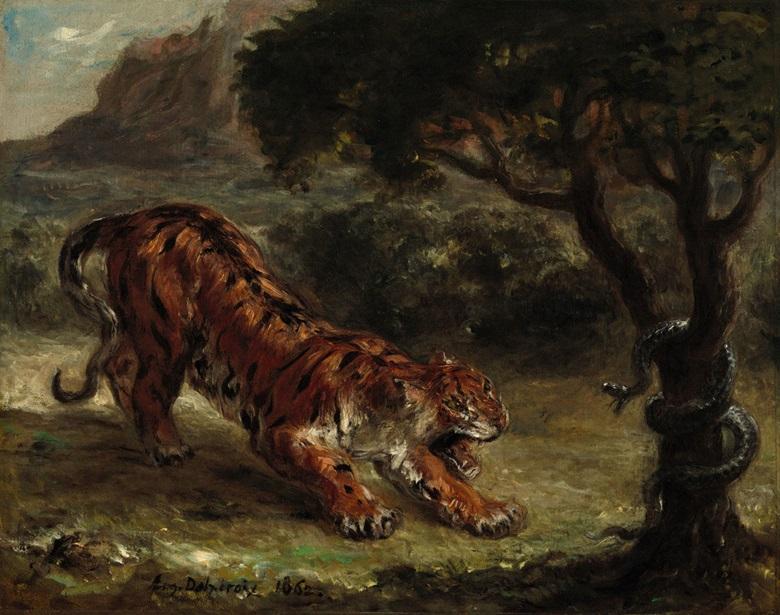 Eugène Delacroix, Tigre et serpent, 1862. The National Gallery of Art, Washington, D.C.