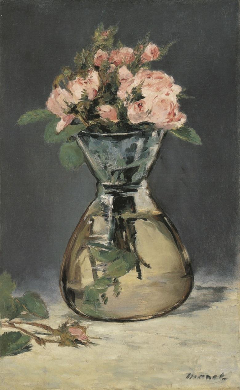 Edouard Manet, Roses mousseuses dans un vase, 1882. Sterling and Francine Clark Art Institute, Williamstown, Massachusetts.