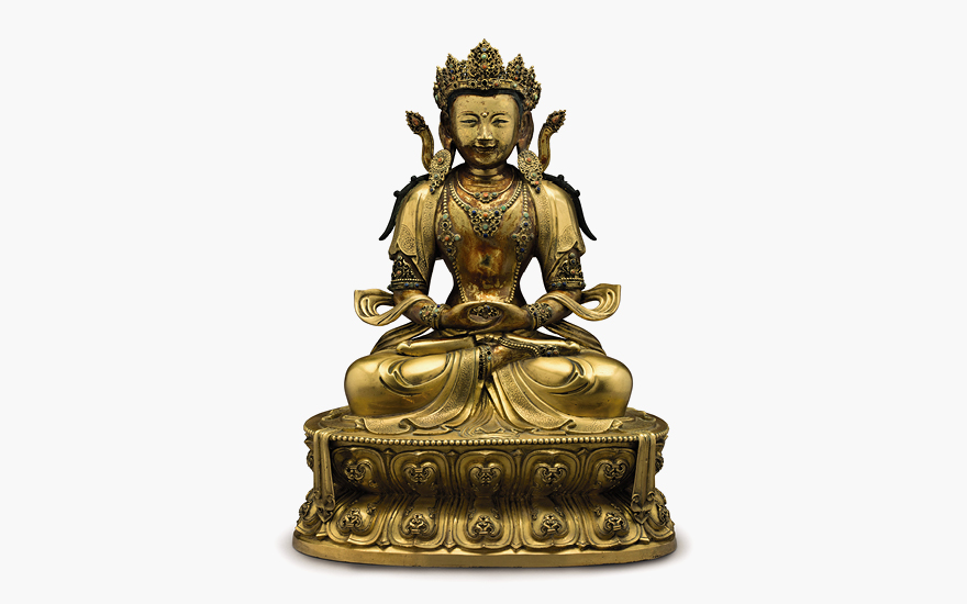 LAN IMPERIAL GILT-BRONZE FIGURE OF AMITAYUS