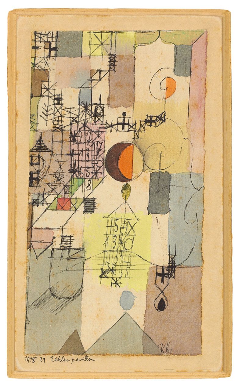 Paul Klee (1879–1940), Zahlenpavillon (Pavilion of Numbers), 1918. Watercolour and pen and ink on paper laid down on the artist's mount. 6 ⅜ x 3 ½ in. (16.3 x 8.9 cm.) Estimate £200,000–300,000. This work is offered in the Impressionist & Modern Art Evening Sale on 22 June at Christie's in London