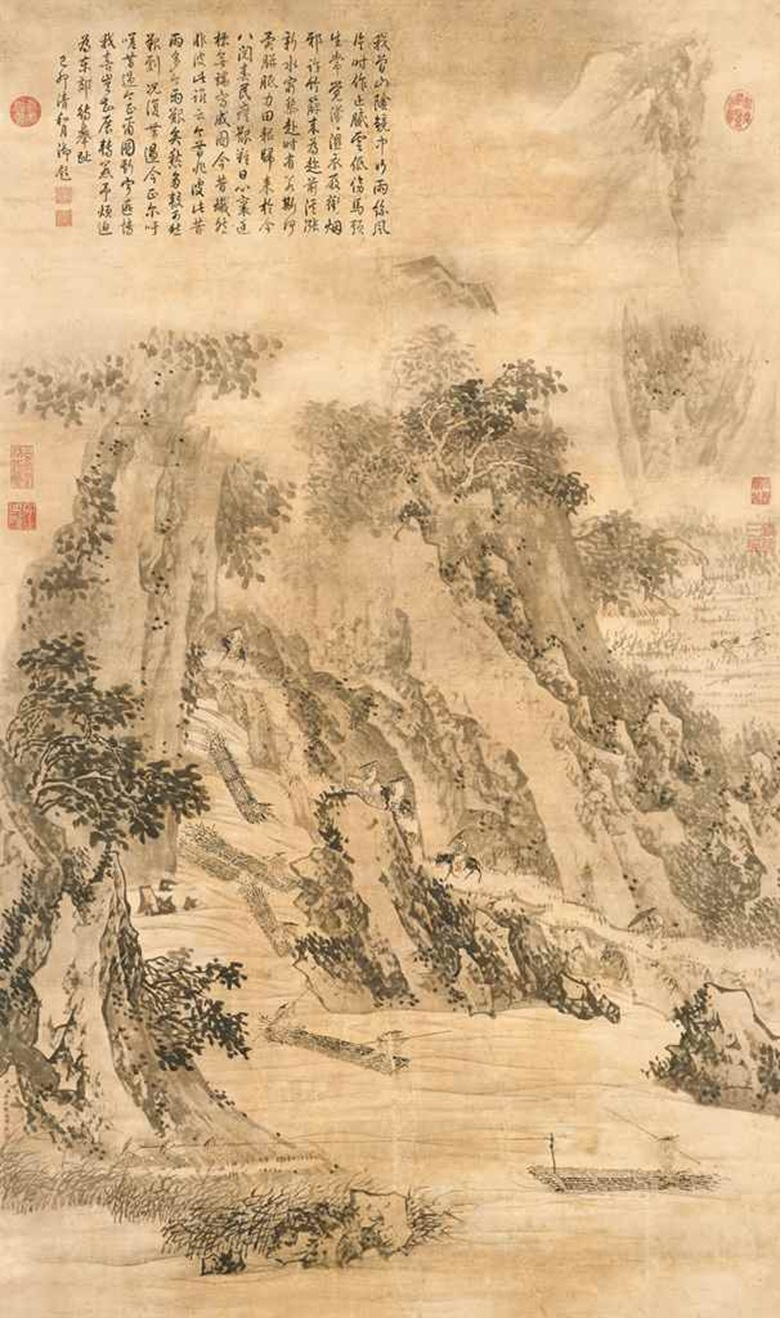 854b1ff37 Jin Tingbiao (18th Century), Landscape in Rain. Scroll, mounted and framed