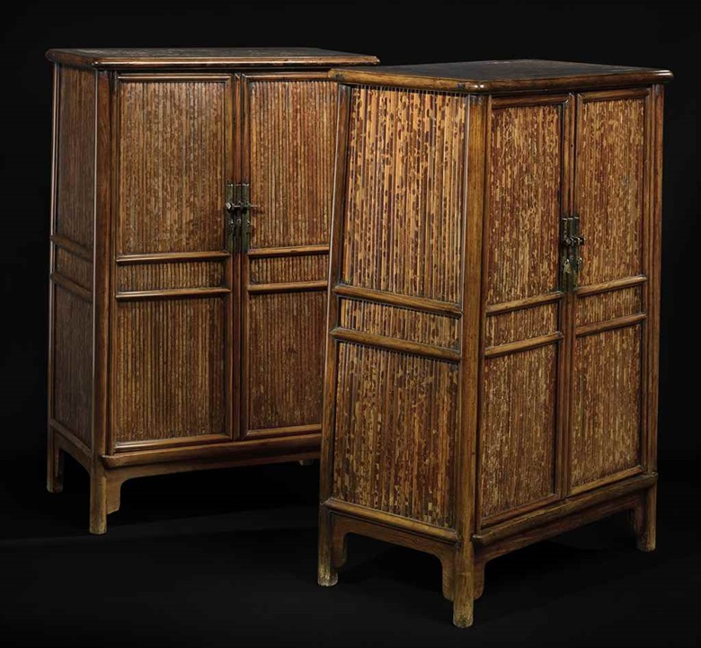 A rare pair of huanghuali and  spotted bamboo scholar's cabinets, yuanjiaogui. 17th century. Estimate $2,800,000–3,200,000.  To be offered in The Flacks Family Collection A Very  Personal Selection, 16 September at Christie's New York