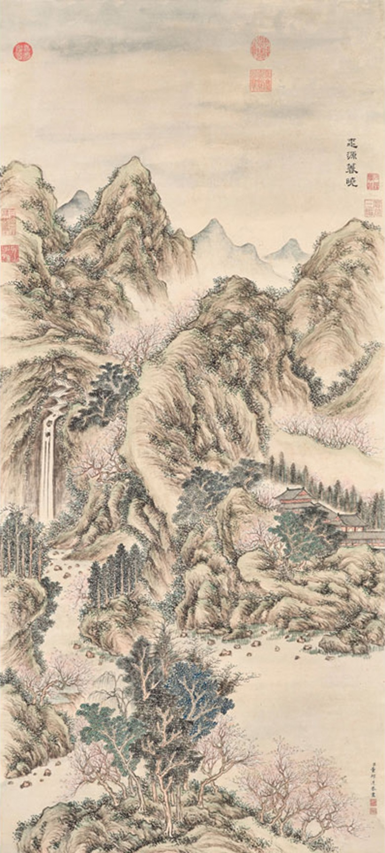 Dong  Bangda (1696-1769), Spring in Peach Blossom Land. Hanging scroll,  ink and colour on paper. 144.5 x 65 cm (56⅞ x 25⅝ in). Signed, with two seals  of the artist. Seven imperial collectors'  seals four of Emperor Qianlong and three of Emperor Jiaqing (1760-1820).  Estimate HK$7,000,000-9,000,000  $910,000-1,165,000. This work is offered in  Fine Chinese Classical Paintings and