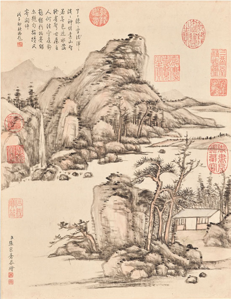 Zhang  Zongcang (1686-1756), Dream of the Crane Studio. Hanging scroll, ink and light colour on paper. 42.5 x 33 cm (16¾ x 13 in). Signed, with two seals of the artist. Inscribed with a poem by Emperor Qianlong (1711-1799),  with one seal. Dated early autumn, wuzi year  (1768). Nine imperial collectors' seals  eight of Emperor Qianlong and one of Emperor Jiaqing