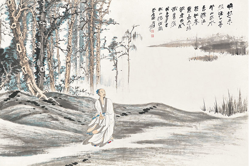 Zhang  Daqian (1899-1983), Lone Scholar in the Autumn Woods. Scroll, mounted and framed, ink and colour on paper. 89.6 x 135 cm (35¼ x 53⅛ in). Estimate  HK$18,000,000-28,000,000