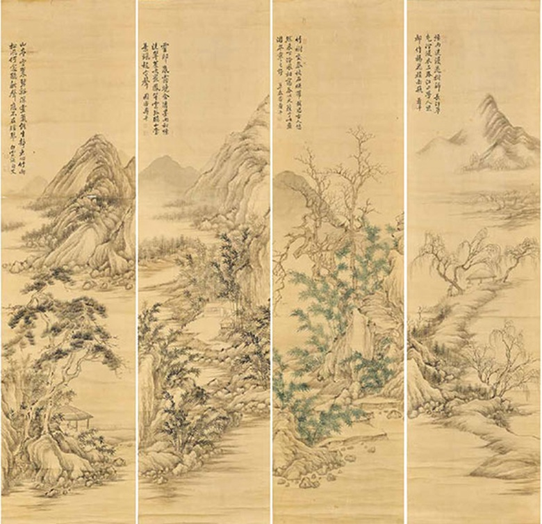 Yun Shouping (1633-1690), Landscape in Four Seasons. A set of four hanging scrolls, ink and colour on silk. Each scroll measures 156 x 40.6 cm (61⅜ x 16 in). Each scroll inscribed with a poem and signed, with a total of nine seals of the artist. A total of four collector's seals on the mounting. Estimate HK$1,000,000-1,500,000  $130,000-195,000. This work is offered in Fine Chinese