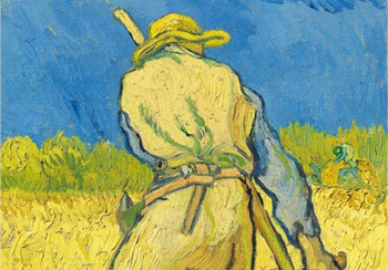 Christie's Impressionist & Modern Art - Vincent van Gogh (1853-1890), Le moissonneur (d'après Millet) Oil on canvas 17 x 9 5/8 in. (43.3 x 24.3 cm.) Painted in Saint-Rémy in September 1889