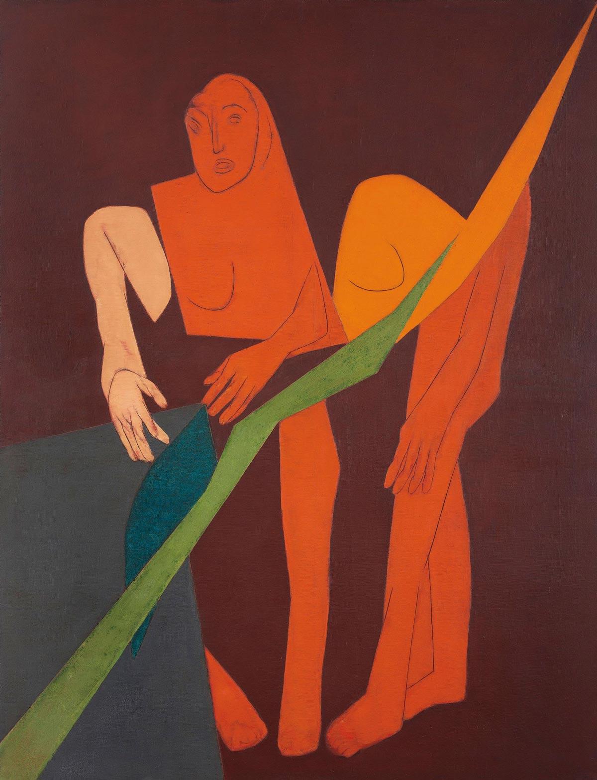 泰伯·梅塔(1925-2009年)《对角线XV》 油彩 画布,1975年作。成交价:1,392,500美元。此拍品于2018年9月12日在佳士得纽约南亚现代+当代艺术拍卖中呈献。