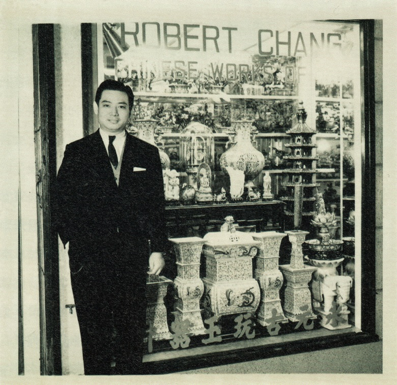 Chang at his antiques shop on Wyndham Street, Hong Kong
